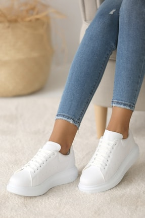 Pembe Potin Kadın Beyaz Ayakkabı 0