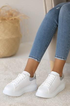 Pembe Potin Kadın Beyaz Gümüş Ayakkabı 1