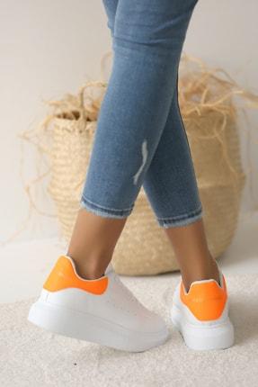 Pembe Potin Kadın Beyaz Turuncu Ayakkabı 2
