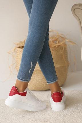 Pembe Potin Kadın Beyaz Kırmızı Ayakkabı 2