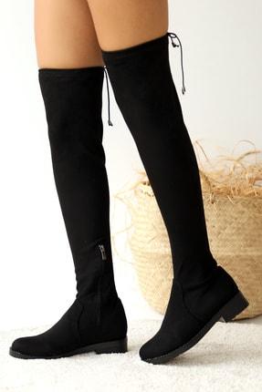 Pembe Potin Kadın Siyah Süet Çizme 0