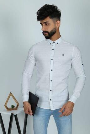 JİYAN Erkek Beyaz Uzun Kol Gömlek 0