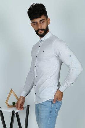 JİYAN Erkek Beyaz Uzun Kol Gömlek 1