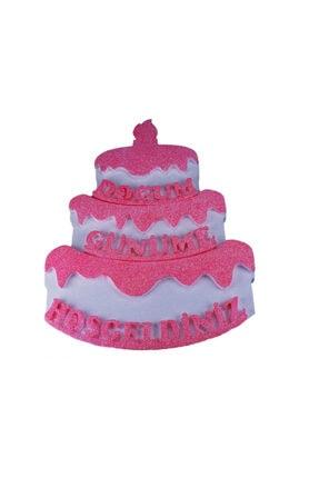 Eminonutoptanci Strafor Kapı Süsü Pasta Modeli Doğum Günüme Hoşgeldiniz 48x36 Cm Pembe 0