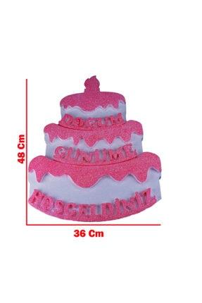 Eminonutoptanci Strafor Kapı Süsü Pasta Modeli Doğum Günüme Hoşgeldiniz 48x36 Cm Pembe 1