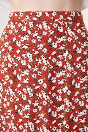 TRENDYOLMİLLA Kiremit Çiçek Desenli Yırtmaç Detaylı Etek TWOSS20ET0230 4