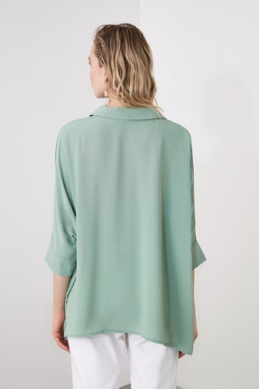 TRENDYOLMİLLA Mint Oversize Gömlek TWOSS20GO0200 4