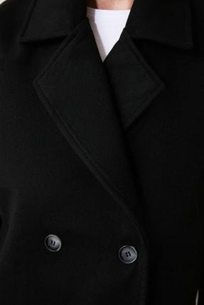TRENDYOLMİLLA Siyah Önden Düğmeli Oversize Kaşe Kaban TWOAW21KB0005 3
