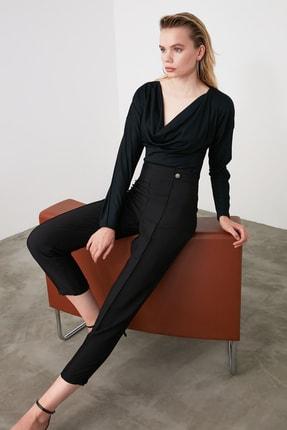 TRENDYOLMİLLA Siyah Çıtçıt Detaylı Önü Dikişli Cigarette Pantolon TWOAW20PL0598 0