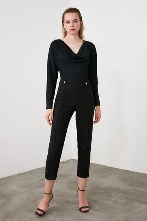 TRENDYOLMİLLA Siyah Çıtçıt Detaylı Önü Dikişli Cigarette Pantolon TWOAW20PL0598 1