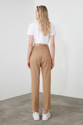 TRENDYOLMİLLA Camel Dikiş Detaylı Düz Kesim Pantolon TWOSS20PL0008 3