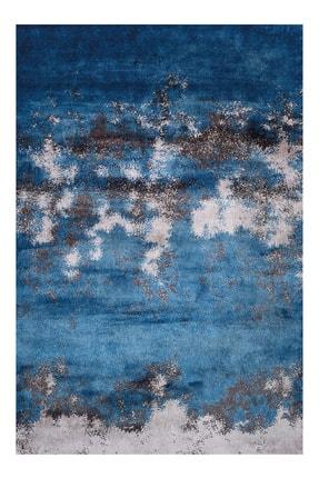 LİNA HALI Linahalı Mavi Okyanus Dekoratif Saçaklı Kaydırmaz Taban Baskılı Modern Halı 0