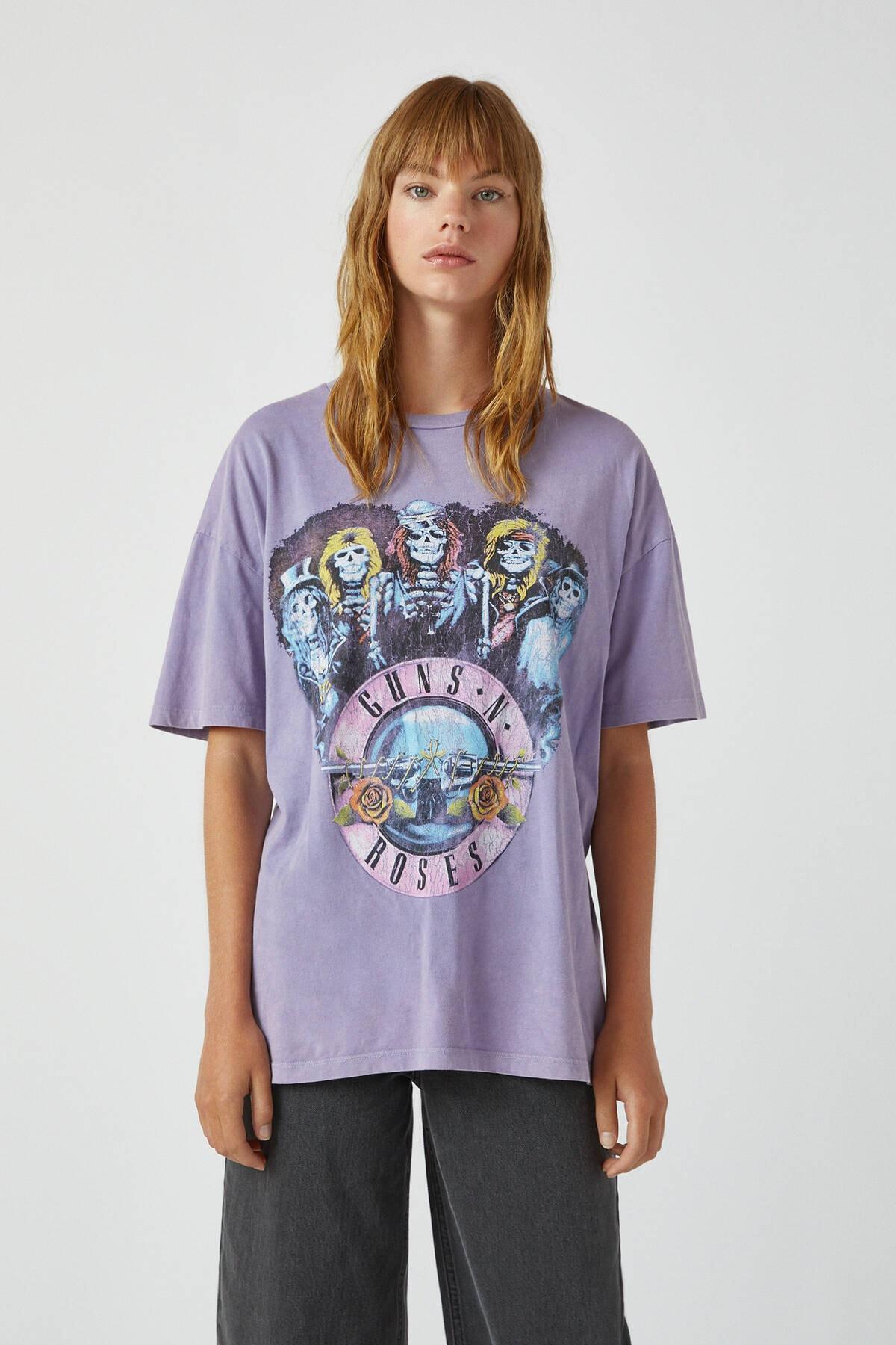 Pull & Bear Kadın Lila Lila Guns N' Roses T-Shirt 09244387 0