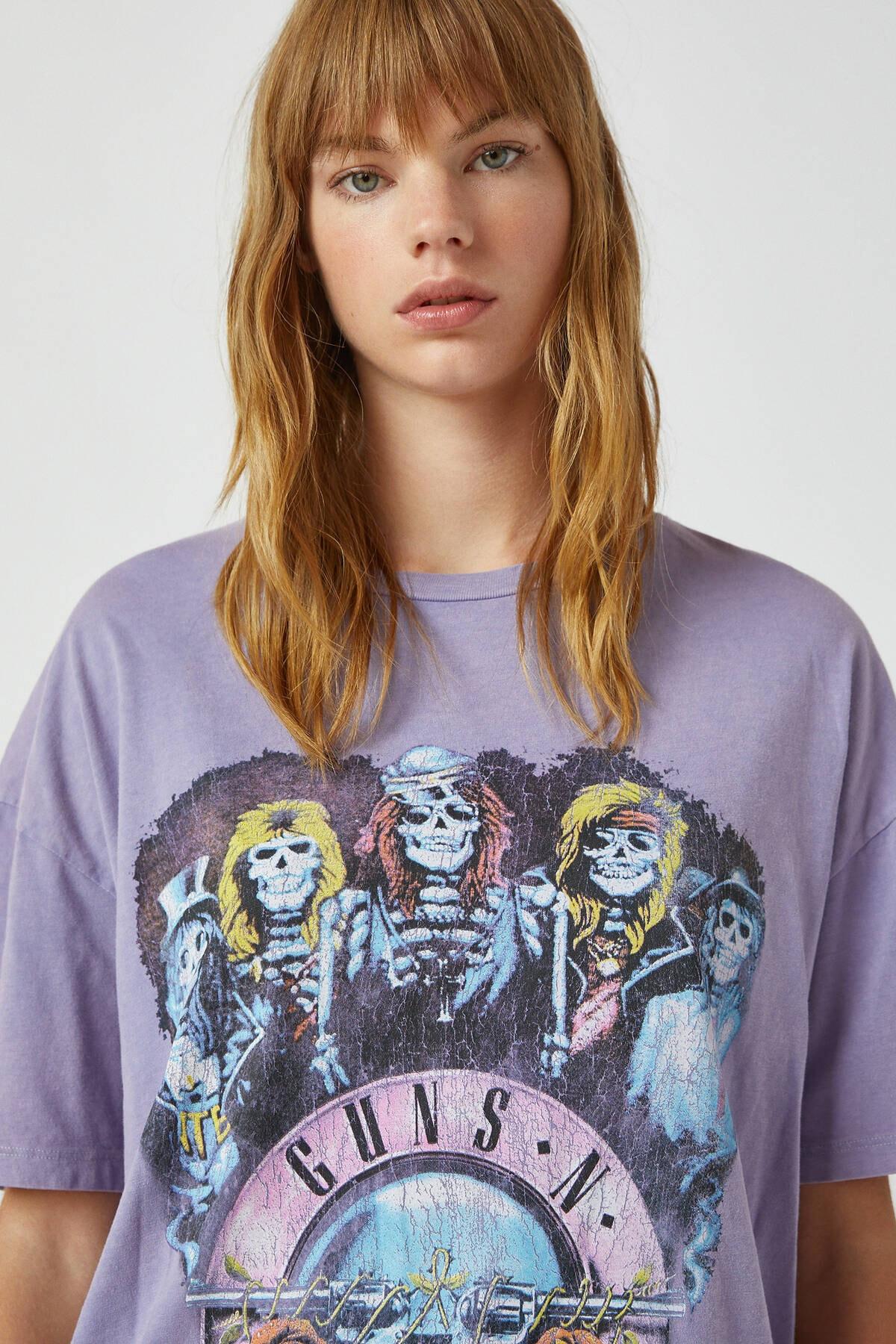 Pull & Bear Kadın Lila Lila Guns N' Roses T-Shirt 09244387 3