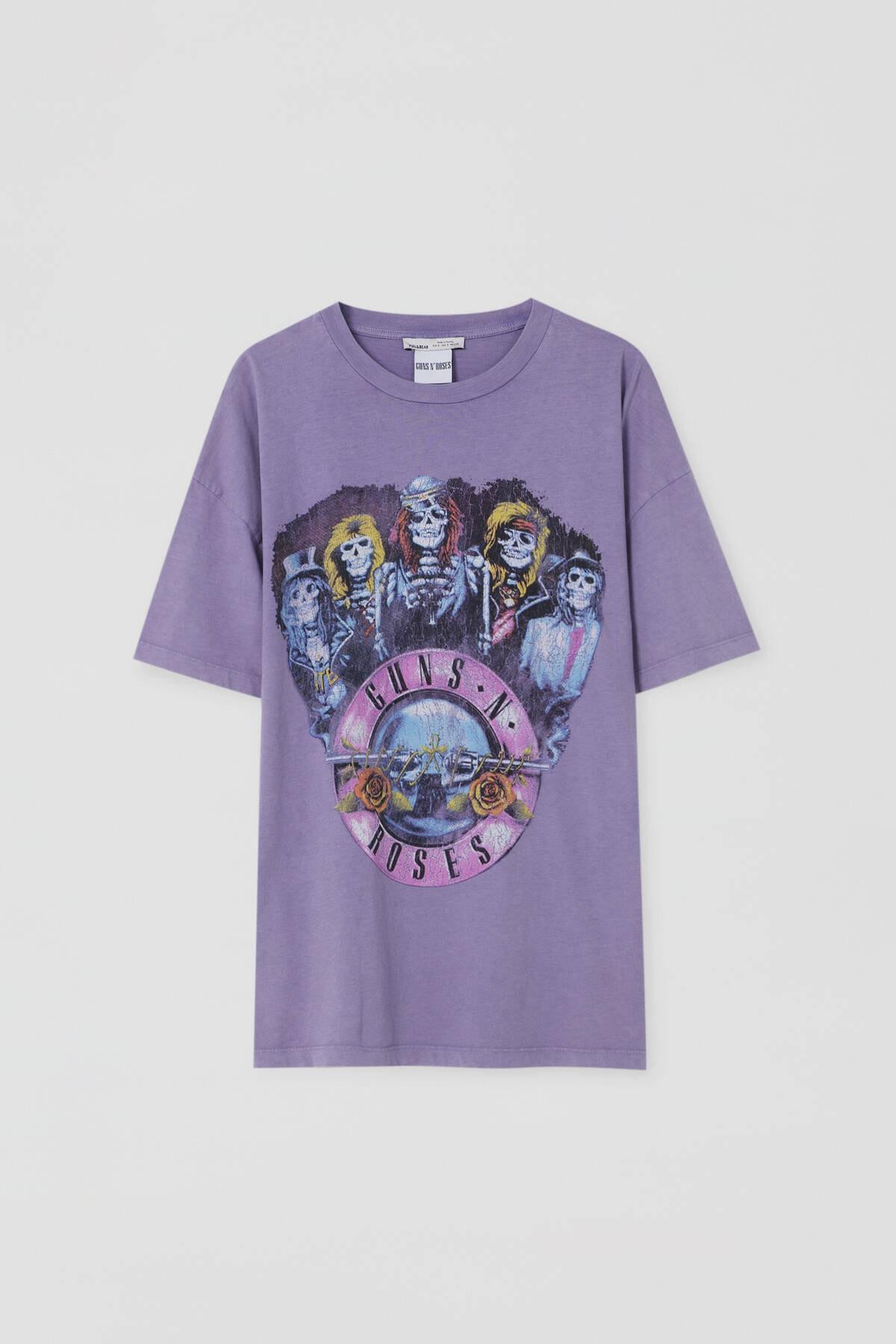 Pull & Bear Kadın Lila Lila Guns N' Roses T-Shirt 09244387 4