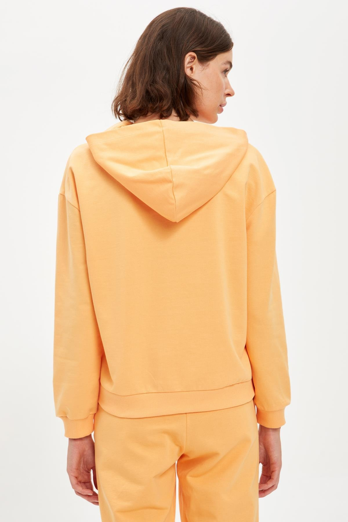 Defacto Kadın Lt.Orange Yazı Baskılı Kapüşonlu Sporcu Sweatshirt S1114AZ20AU 3