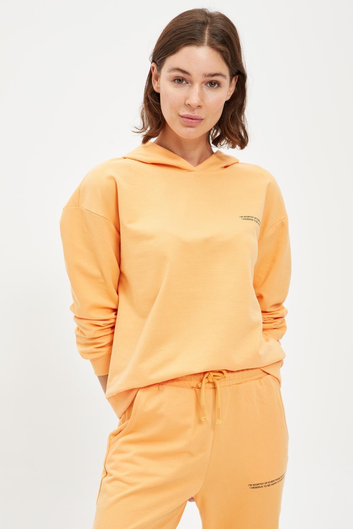 Defacto Kadın Lt.Orange Yazı Baskılı Kapüşonlu Sporcu Sweatshirt S1114AZ20AU 4