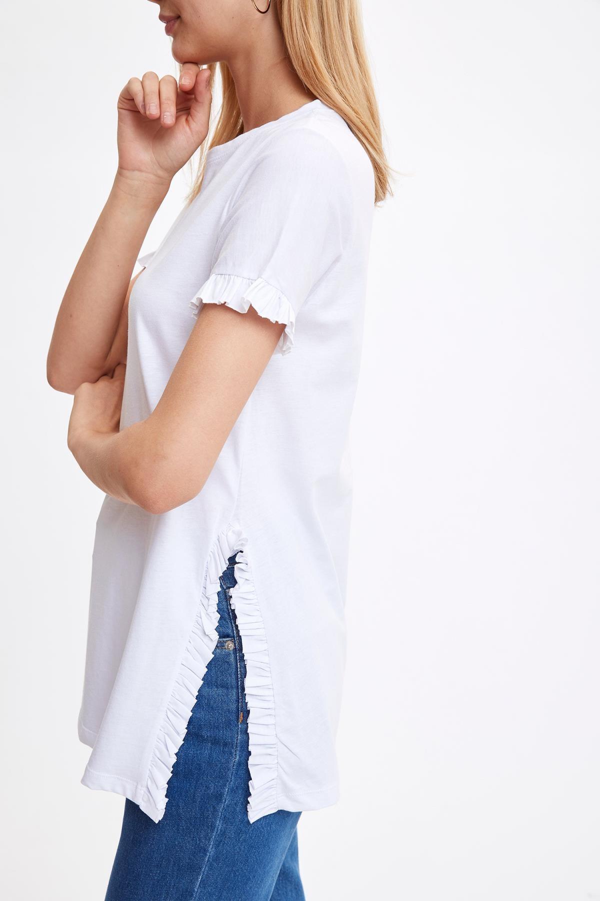 Defacto Kadın Beyaz-130-13 Kolları Ve Etek Ucu Volanlı Tunik S7705AZ20HS 2