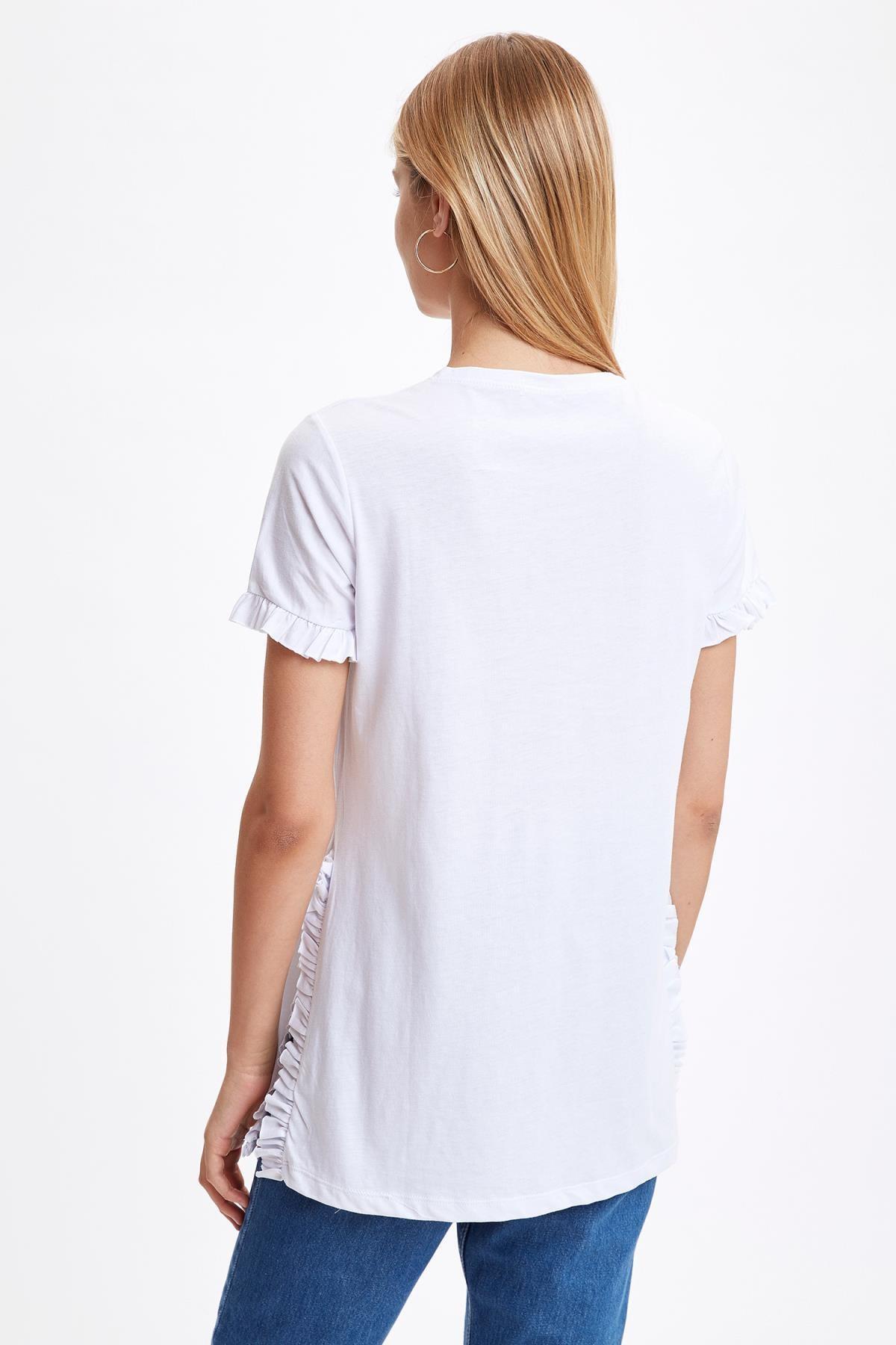 Defacto Kadın Beyaz-130-13 Kolları Ve Etek Ucu Volanlı Tunik S7705AZ20HS 3