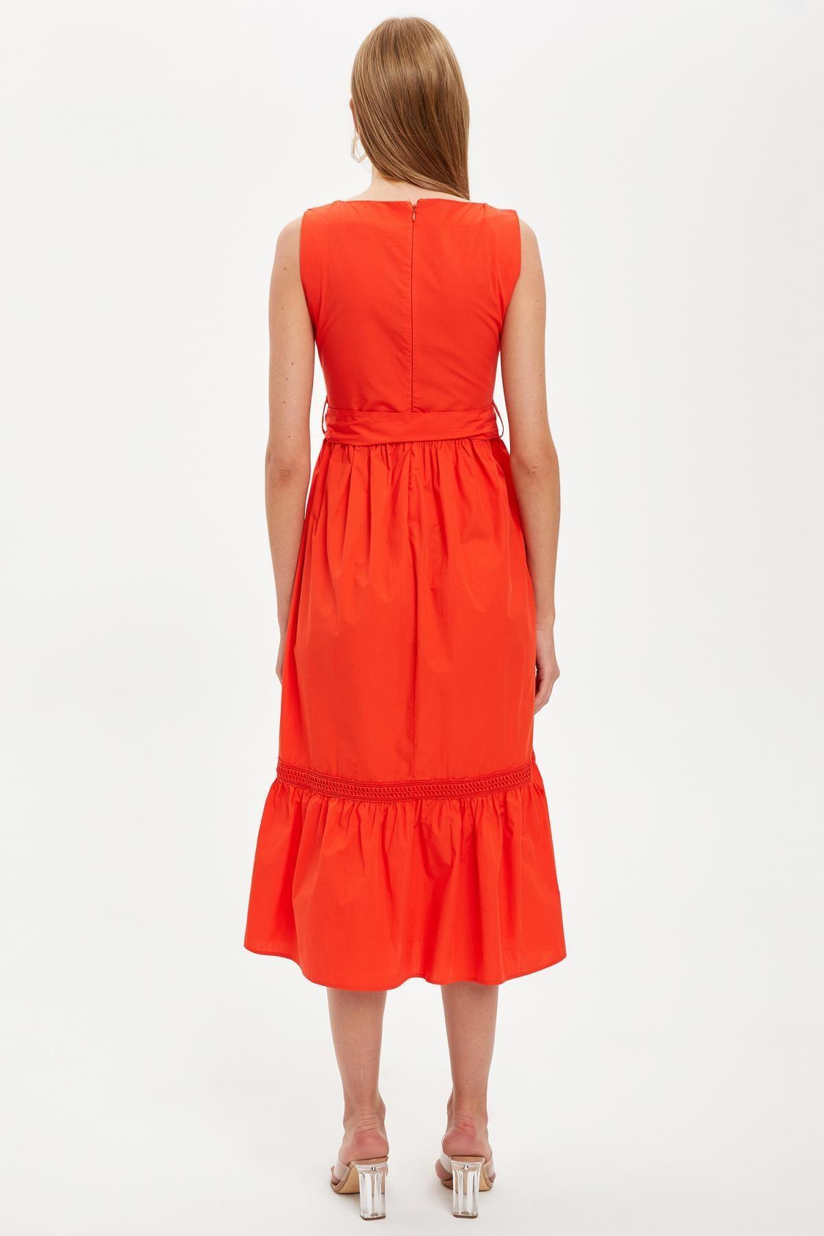 Defacto Kadın Red Kısa Kollu Regular Fit Pamuklu Elbise S8461AZ20HS 3