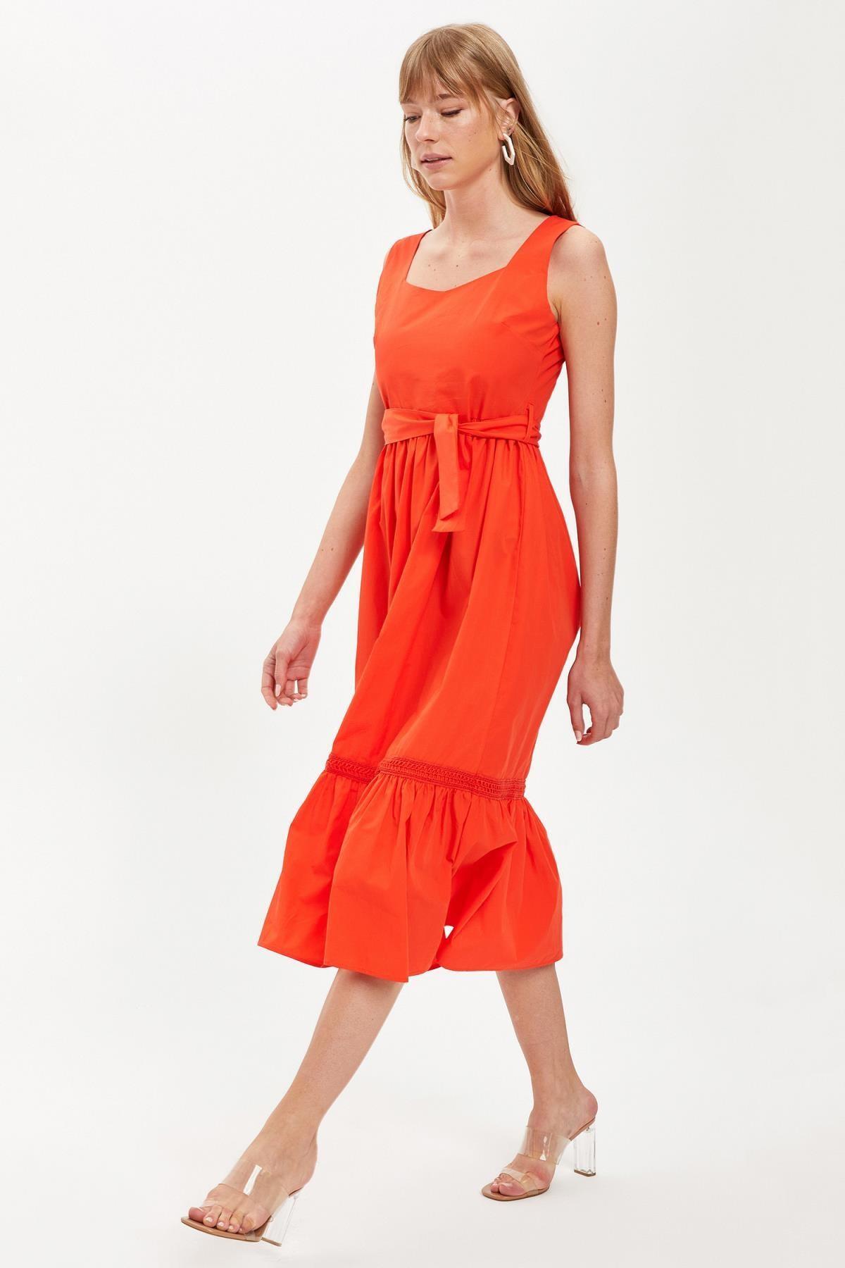 Defacto Kadın Red Kısa Kollu Regular Fit Pamuklu Elbise S8461AZ20HS 4