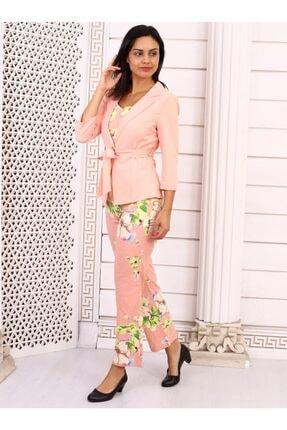 HOPANNİ Kadın Pembe Çiçek Desenli Ceket Takım 0