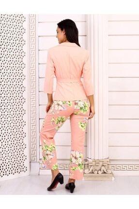 HOPANNİ Kadın Pembe Çiçek Desenli Ceket Takım 2