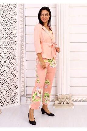HOPANNİ Kadın Pembe Çiçek Desenli Ceket Takım 3