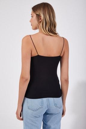 Happiness İst. Kadın Siyah İp Askılı Örme Body Bluz LD00018 1