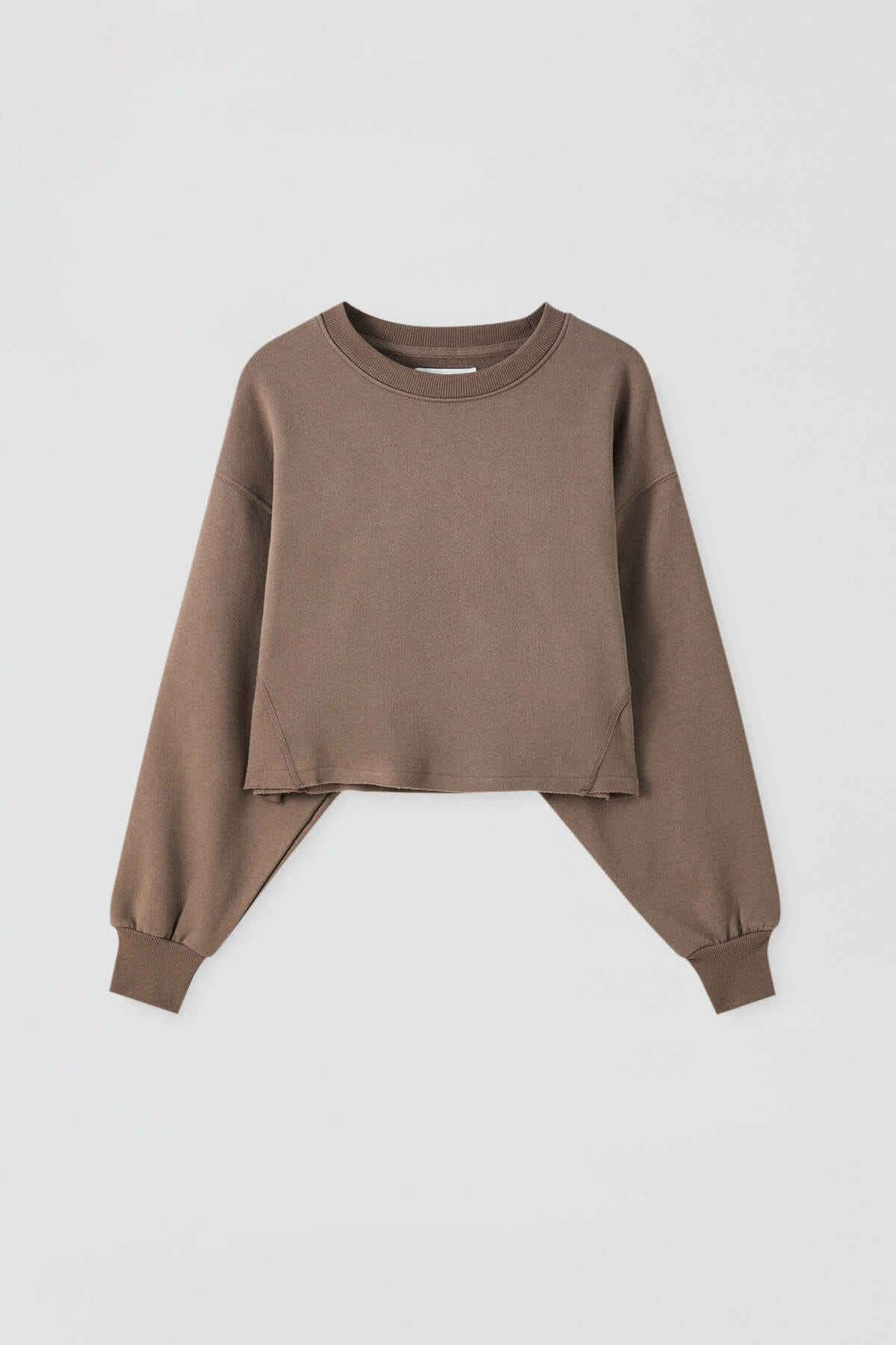 Pull & Bear Kadın Boz Gri Rahat Crop Fit Sweatshirt 09594315 4