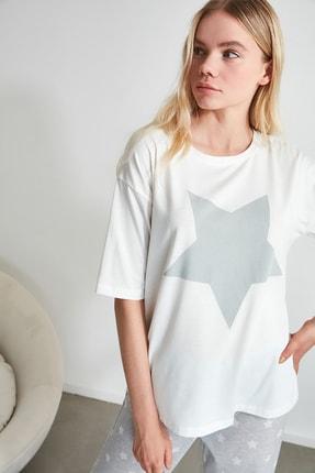 TRENDYOLMİLLA Yıldız Desenli Örme Pijama Takımı THMAW21PT0160 3