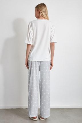 TRENDYOLMİLLA Yıldız Desenli Örme Pijama Takımı THMAW21PT0160 4