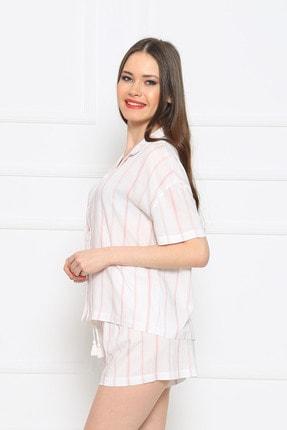 Vienetta Kadın Beyaz Kısa Kol Normal Beden Viskon Şort Pijama Takımı 2