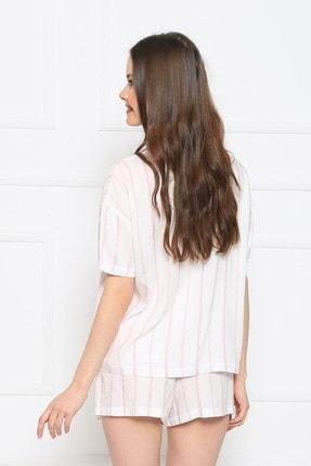 Vienetta Kadın Beyaz Kısa Kol Normal Beden Viskon Şort Pijama Takımı 3