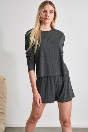 TRENDYOLMİLLA Antrasit Dantel Detaylı Örme Pijama Takımı THMAW21PT0197 2