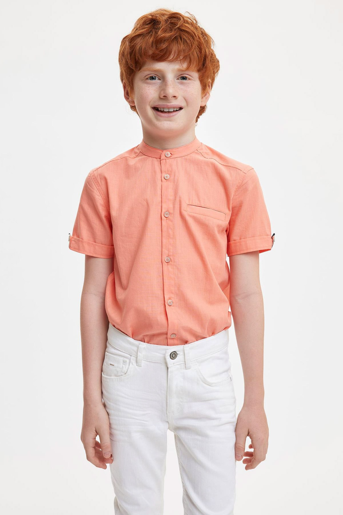 Rkek Çocuk Regular Fit Keten Görünümlü Kısa Kol Gömlek