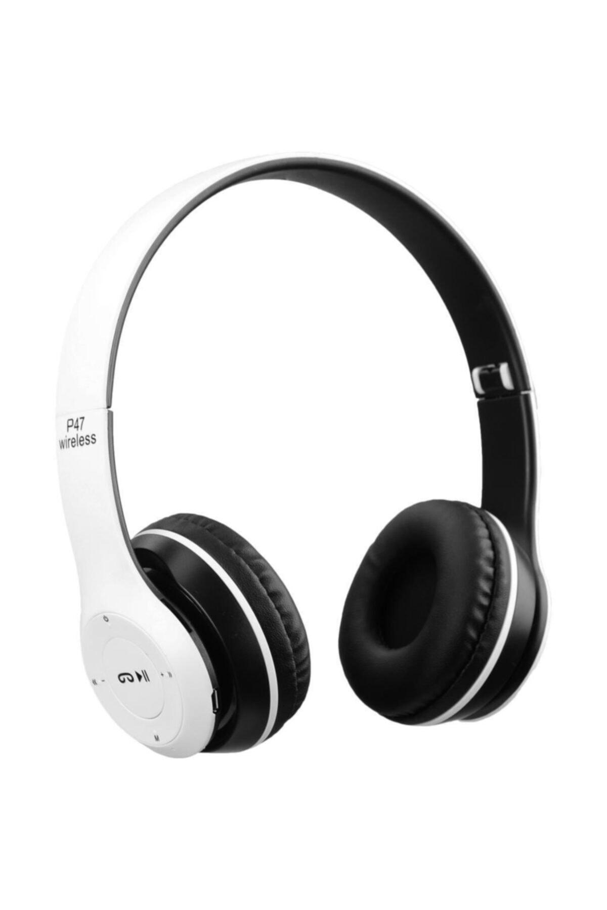 P47 Beyaz  Extra Bass Wireless Bluetooth Kulaklık 5.0+ Edr Fm Radyo