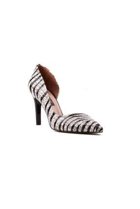 Derinet Klasik Siyah Beyaz Zebra Dekolteli Kadın Stiletto 2