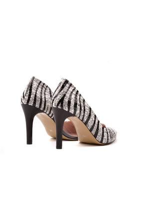 Derinet Klasik Siyah Beyaz Zebra Dekolteli Kadın Stiletto 3