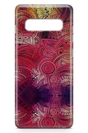 Lopard Samsung Galaxy S10 Plus Kılıf Kırmızı Pembe Motifler Arka Kapak Koruma Desenli Full Koruyucu 1