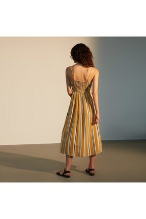 Mudo Kadın Sarı Askılı Kloş Midi Elbise 1217611 3
