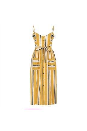 Mudo Kadın Sarı Askılı Kloş Midi Elbise 1217611 4