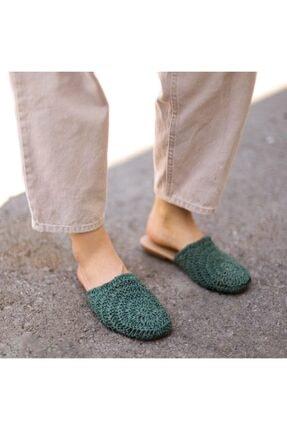 EMOYRA Kadın Yeşil Dori Hasır Örgü Terlik 4