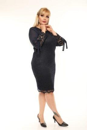VOLİNAY Kadın Siyah Güpür Kolu Şifon Abiye Elbise 2
