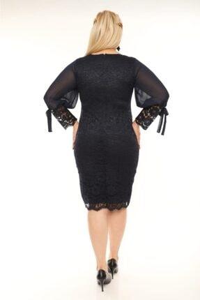 VOLİNAY Kadın Siyah Güpür Kolu Şifon Abiye Elbise 3