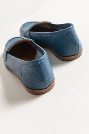 LuviShoes Kadın Kot Cilt Babet F02 3