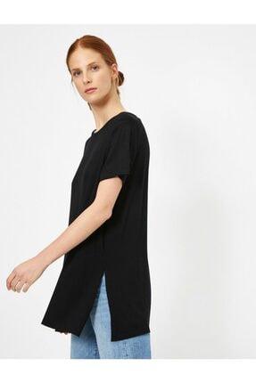 Koton Kadın Siyah Yirtmaç Detayli T-Shirt 1
