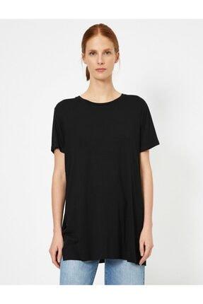 Koton Kadın Siyah Yirtmaç Detayli T-Shirt 2