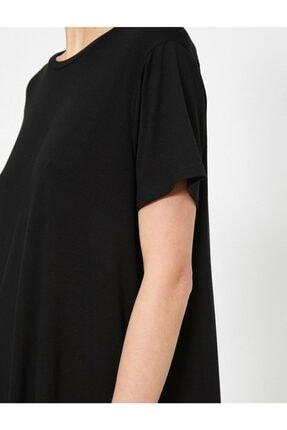 Koton Kadın Siyah Yirtmaç Detayli T-Shirt 4