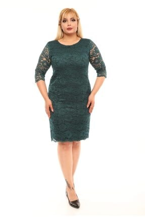 VOLİNAY Büyük Beden Yeşil Güpür Detay Kollu Abiye Elbise 0